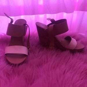 Franco sarto tan and white heels